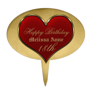 Classic Vivid Red Heart with Gold Metallic Border Cake Toppers