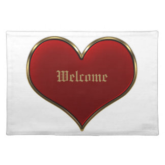 Classic Vivid Red Heart with Gold Metallic Border Place Mats