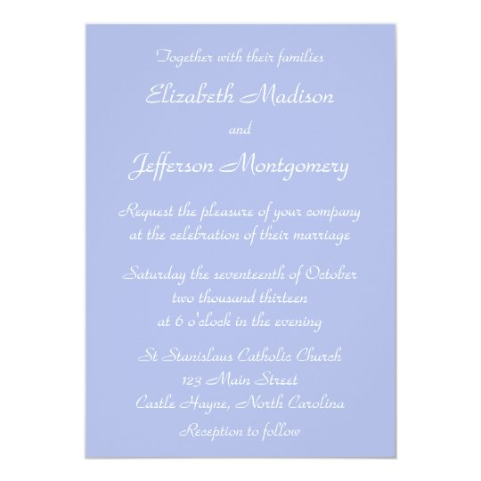Classic Wedgewood Blue 1 Wedding Invitation
