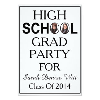 Classic White & Black School Graduation 2 Photos Card
