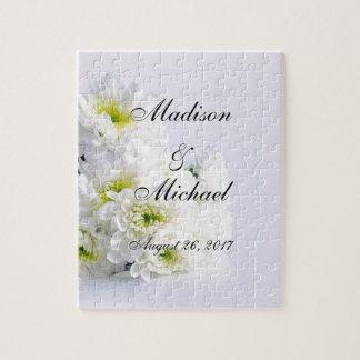 Classic White Bouquet on Wedding White Background Jigsaw Puzzle
