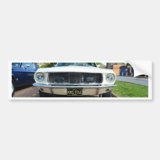 Classic White Ford Mustang Bumper Sticker