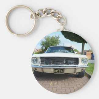 Classic White Ford Mustang Keychain
