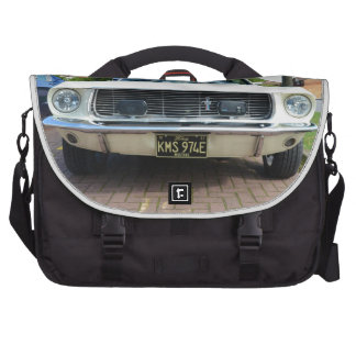 Classic White Ford Mustang Laptop Shoulder Bag