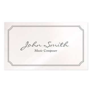 Classic White Frame Music Composer Business Card