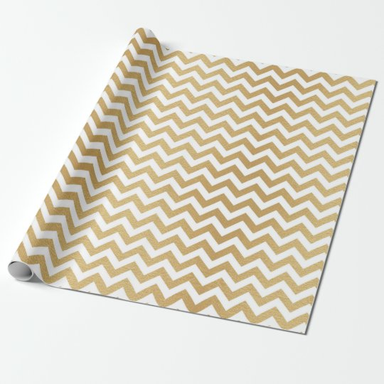 Classic White Golden Chevron Zig Zag Wrapping Paper