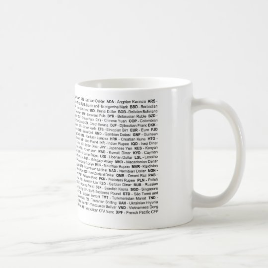 Classic White Mug: Currencies of the World FOREX