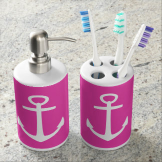Classic White Nautical Anchors on Diva Pink Toothbrush Holders