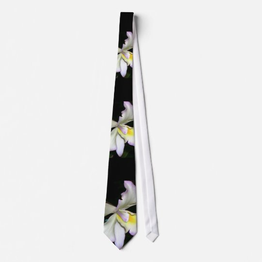 Classic White Orchid Wedding Tie