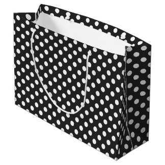 Classic White Polka Dots with Dark Gray Background Large Gift Bag