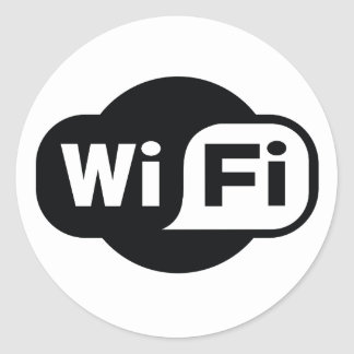 Classic WiFi symbol in black and white Round Sticker