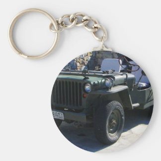 Classic Willy's Jeep. Basic Round Button Key Ring