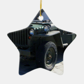 Classic Willy's Jeep. Ceramic Star Decoration