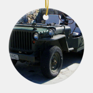 Classic Willy's Jeep. Round Ceramic Decoration