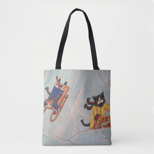 Classic Winter Sledging Cats Tote Bag