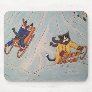 Classic Winter Sledging Mouse Mat