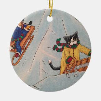 Classic Winter Sledging Round Ceramic Decoration