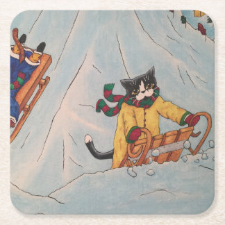 Classic Winter Sledging Square Paper Coaster