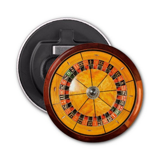 Classic Wooden Roulette Wheel Bottle Opener