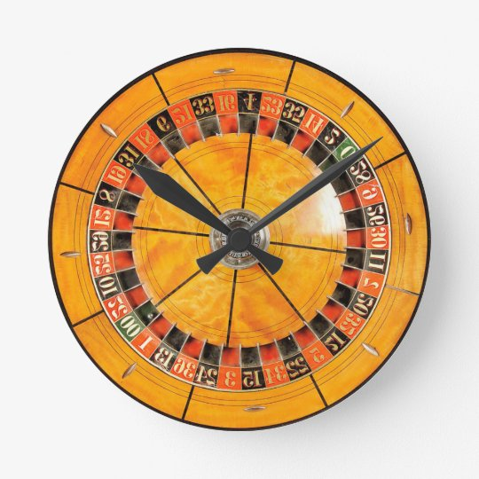 Classic Wooden Roulette Wheel Novelty Clock