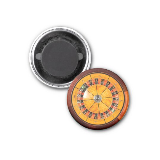 Classic Wooden Roulette Wheel Round Magnet