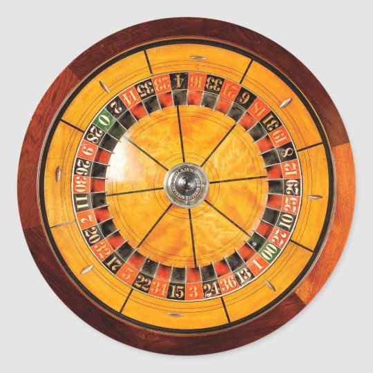 Classic Wooden Roulette Wheel Round Stickers
