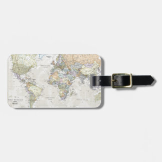 Classic World Map Luggage Tag
