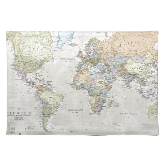 Classic World Map Placemat