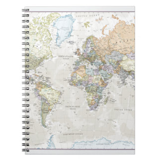 Classic World Map Spiral Note Book