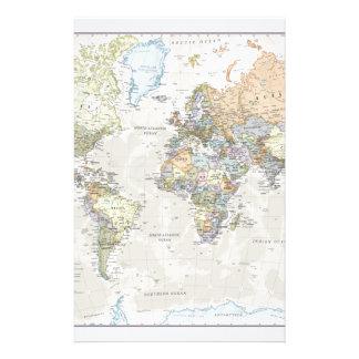 Classic World Map Stationery
