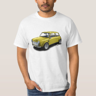 Classic Yellow 1969 Mini Car on White T-Shirt