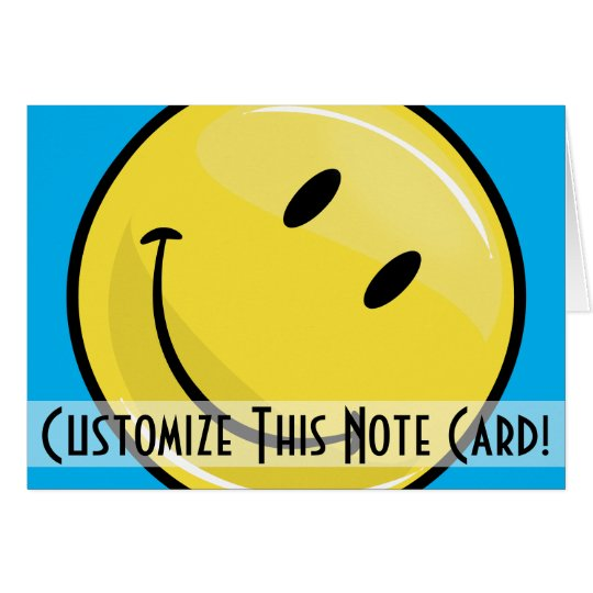 Classic Yellow Happy Face Custom Note Card