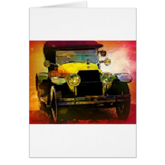Classic Yellow Hot Rod Greeting Card