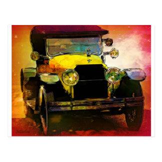 Classic Yellow Hot Rod Postcard