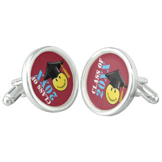 Classic Yellow Smiley With A Graduation Cap Cuff Links
