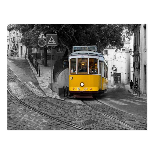 Classic yellow tram in Lisbon. Postcard