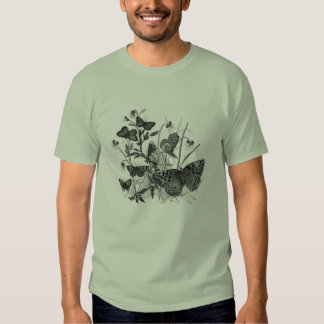 Classic Zoological Etching - Butterflies Tee Shirt