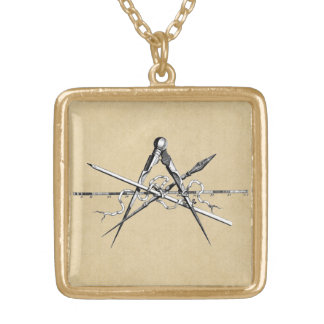 Classical Architecture Drafting Tools Square Pendant Necklace