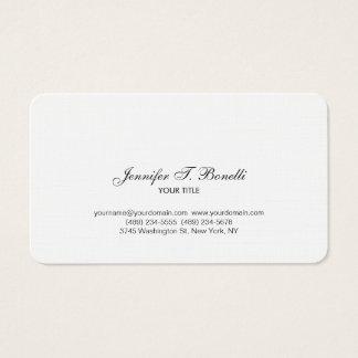 Classical Black White Handwriting Script Plain Business Card