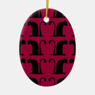 classical cats - red ceramic oval decoration