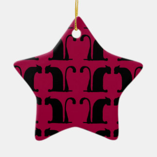 classical cats - red christmas ornament