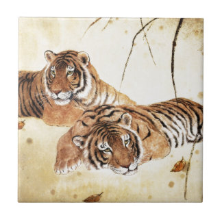 Classical Chinese style art, Reclining tigers Tile