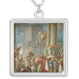 Classical Construction Scene Silver Plated Necklace