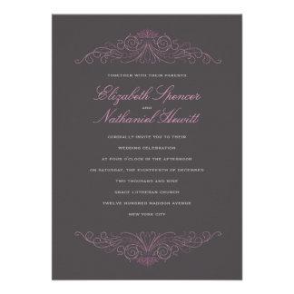 Classical Elegance Wedding Invitation Pink & Grey