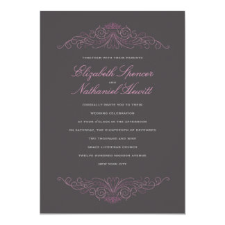 Classical Elegance Wedding Invitation Pink & Grey