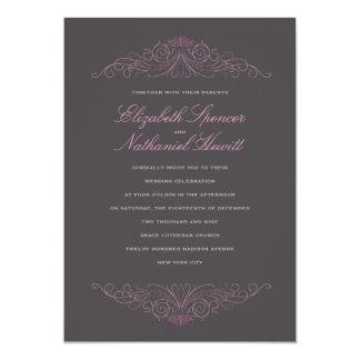 "Classical Elegance Wedding Invitation Pink & Grey 5"" X 7"" Invitation Card"
