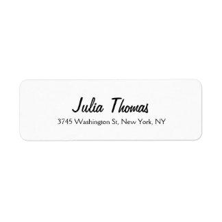 Classical Elegant Plain Simple Professional White Return Address Label