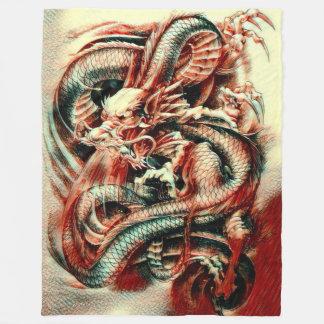 Classical Great Samurai Dragon Spirit Acrylic Fleece Blanket