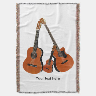 Classical Guitar Acoustic Bass and Ukulele Throw Blanket