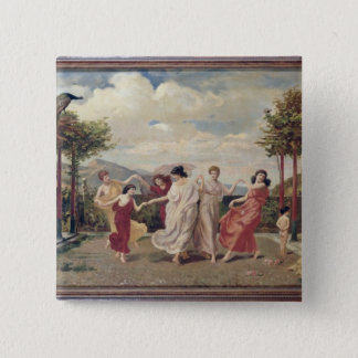 Classical Idyll (oil on canvas) 15 Cm Square Badge